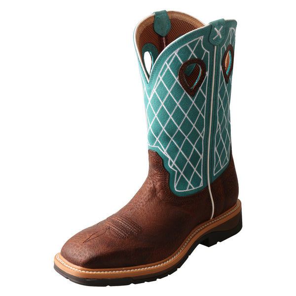 TWISTED X Mens Lite Cowboy Brown Distressed/Turquoise Workboot (MLCS021)