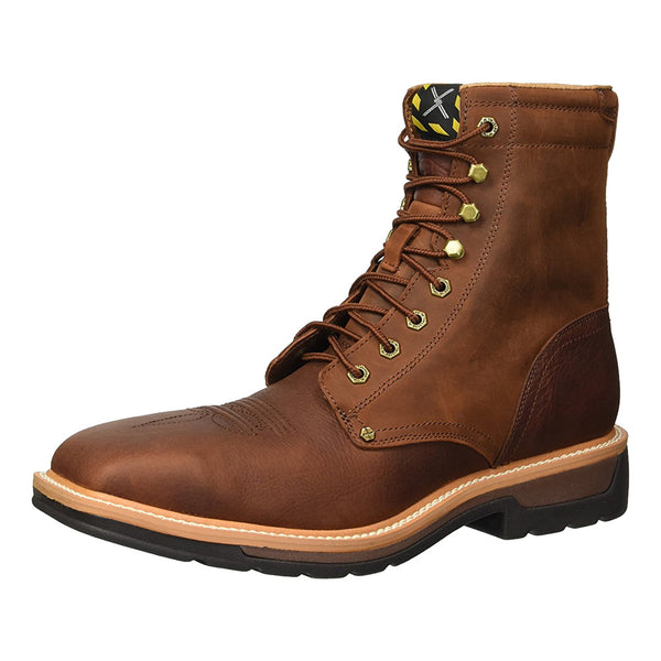 TWISTED X Mens Lite Cowboy Lacer Brown/Rust Workboot (MLCSLW1)