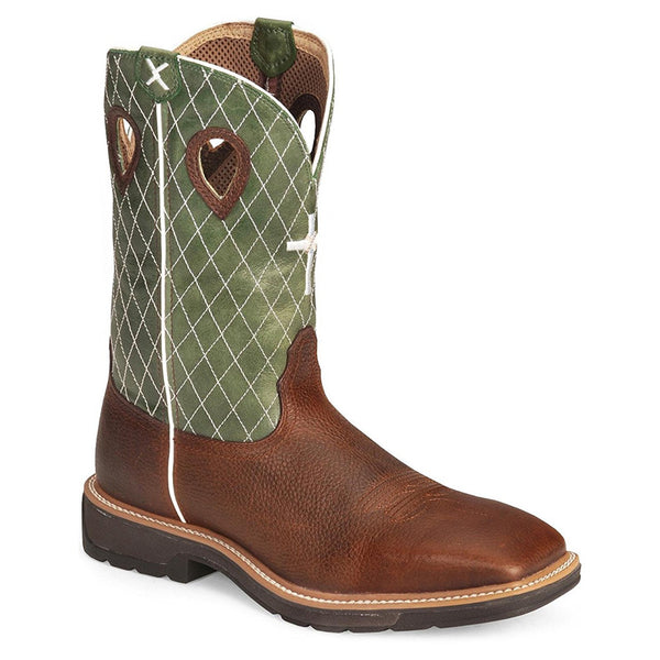 TWISTED X Mens Lite Cowboy Cognac Glazed Pebble/Lime Workboot (MLCW002)