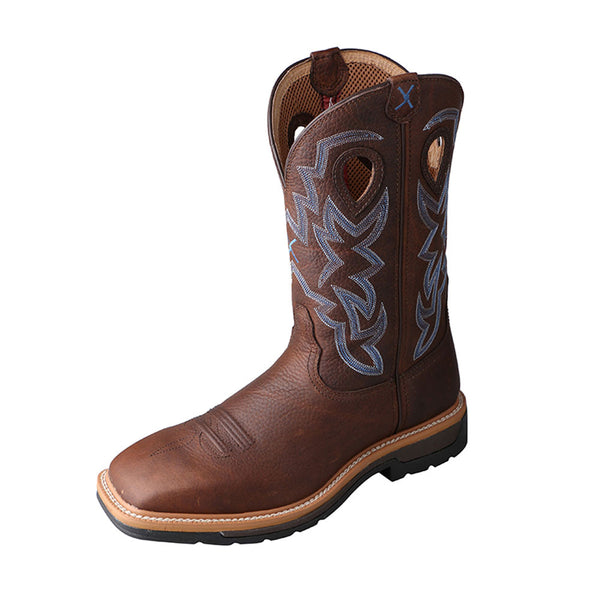 TWISTED X Mens Lite Brown Pebble/Brown Pebble Cowboy Workboot (MLCW003)