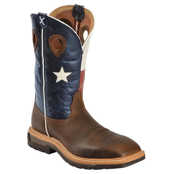 TWISTED X Mens Lite Cowboy Brown/Texas Flag Workboot (MLCW007)