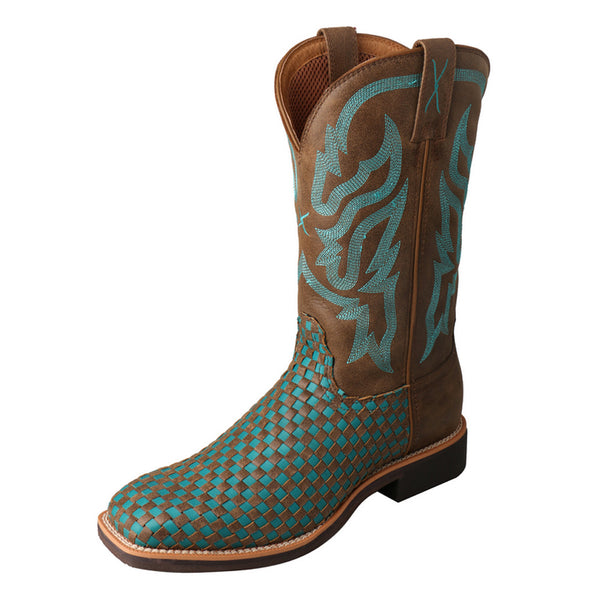 TWISTED X Womens Top Hand Brown/Turquoise Boot (WTH0011)
