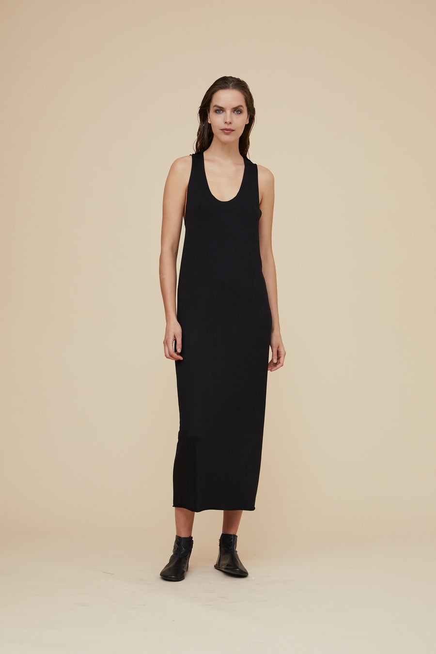 LONG JERSEY DRESS WITH BACK GATHER