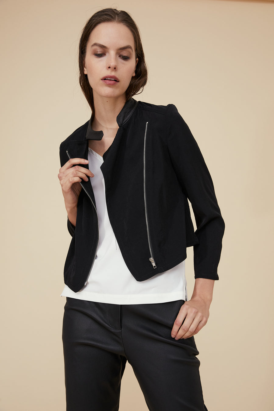 MOTO JACKET IN STONE WASHED FABRIC AND LEATHER COLLAR