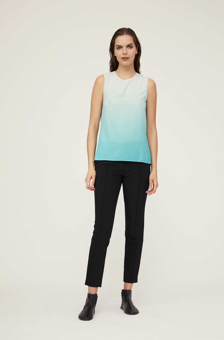 SLEEVELESS TOP IN DIP DYED CREPE