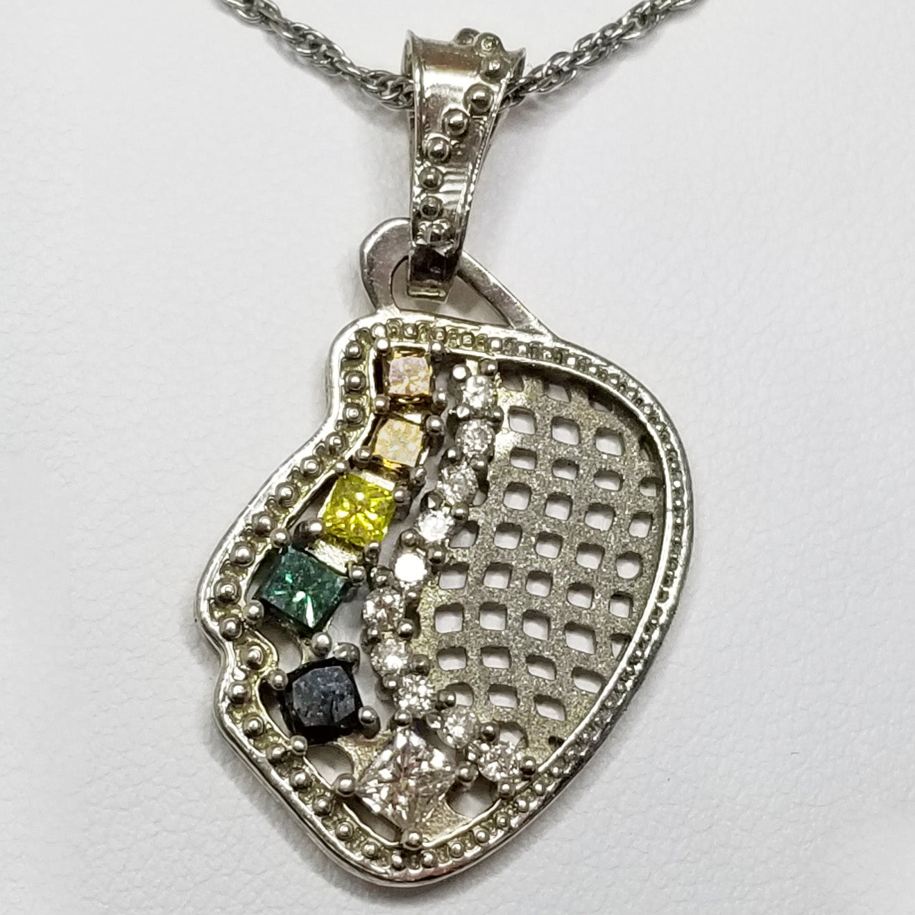 Ready to ship abstract multicolor diamond pendant in 14k white gold