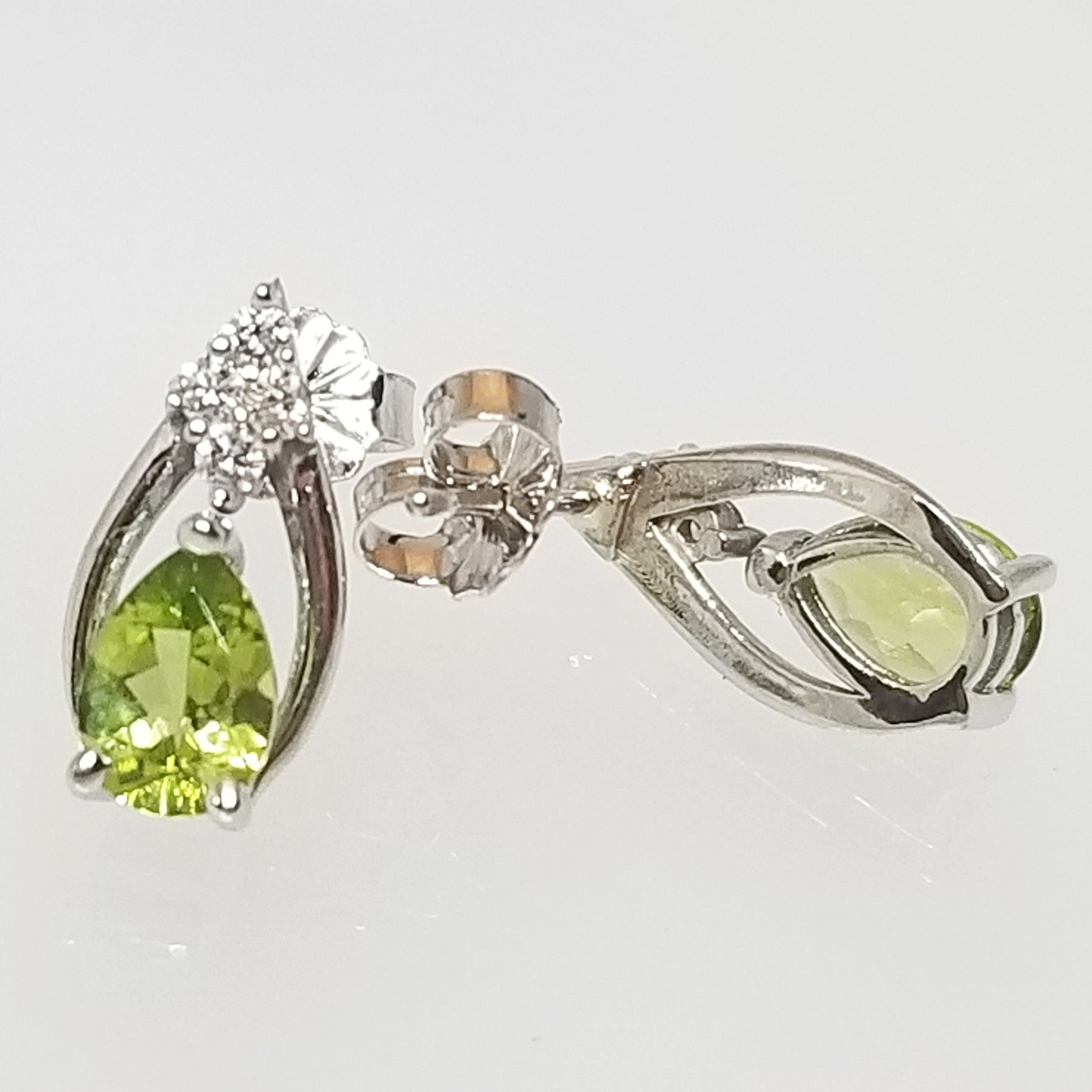 Ready to ship peridot and diamond pear earrings in 14k white gold