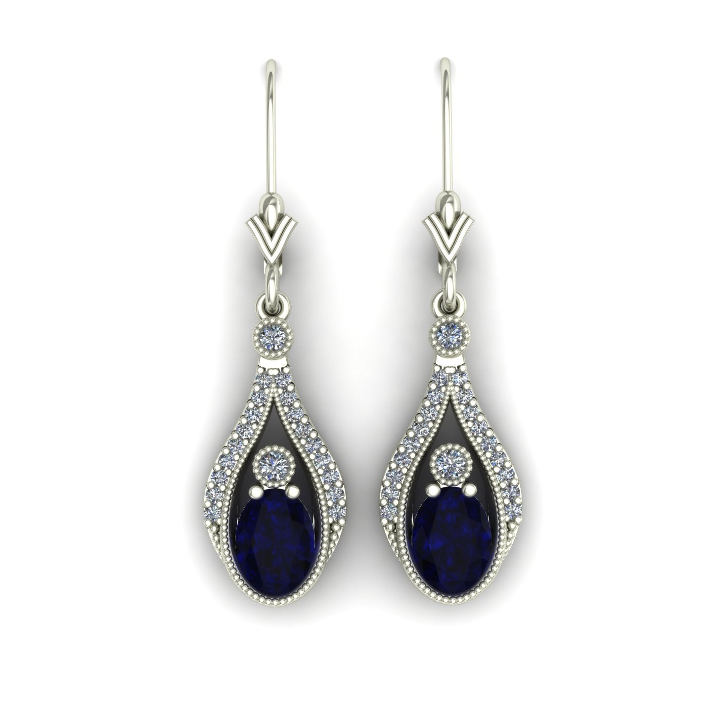 Blue sapphire and diamond drop earrings in 14k white gold