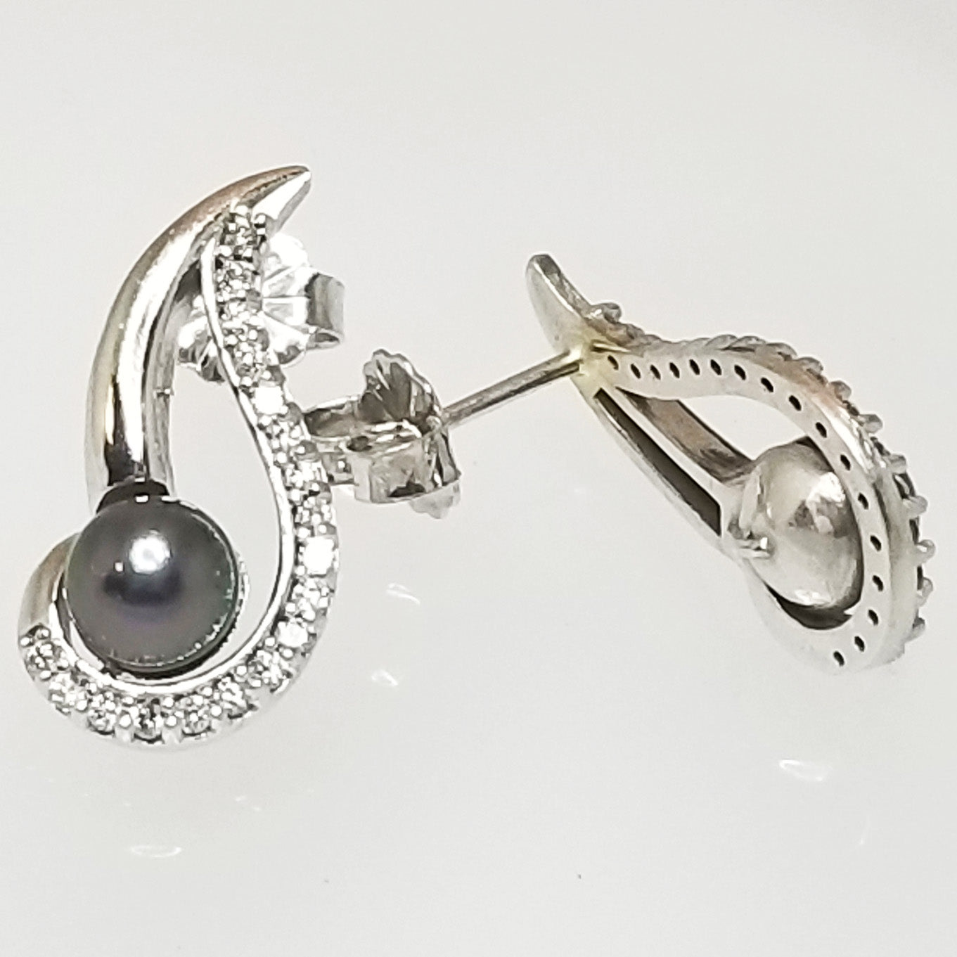 Ready to ship black pearl and diamond swirl earrings in 14k white gold