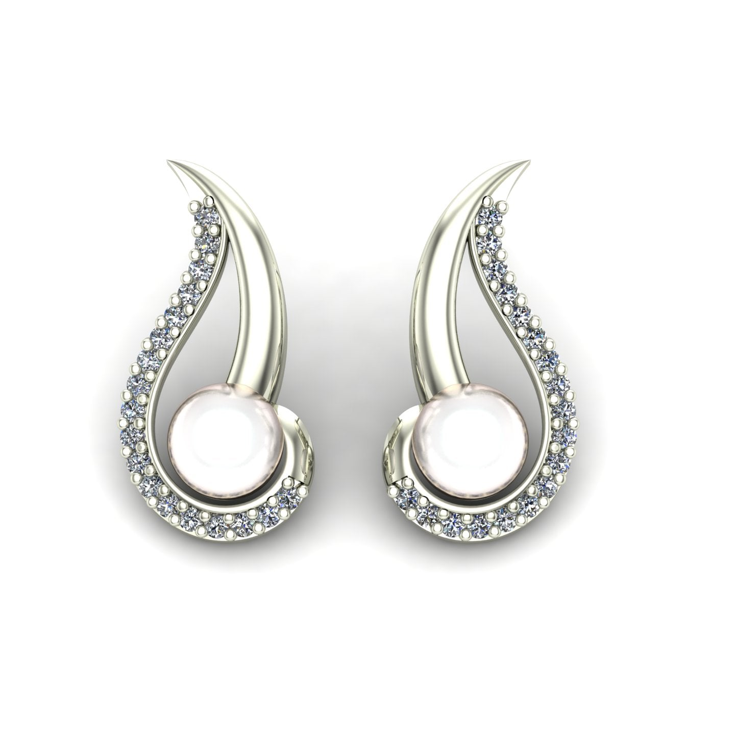 Pearl and diamond swirl earrings in 14k white gold