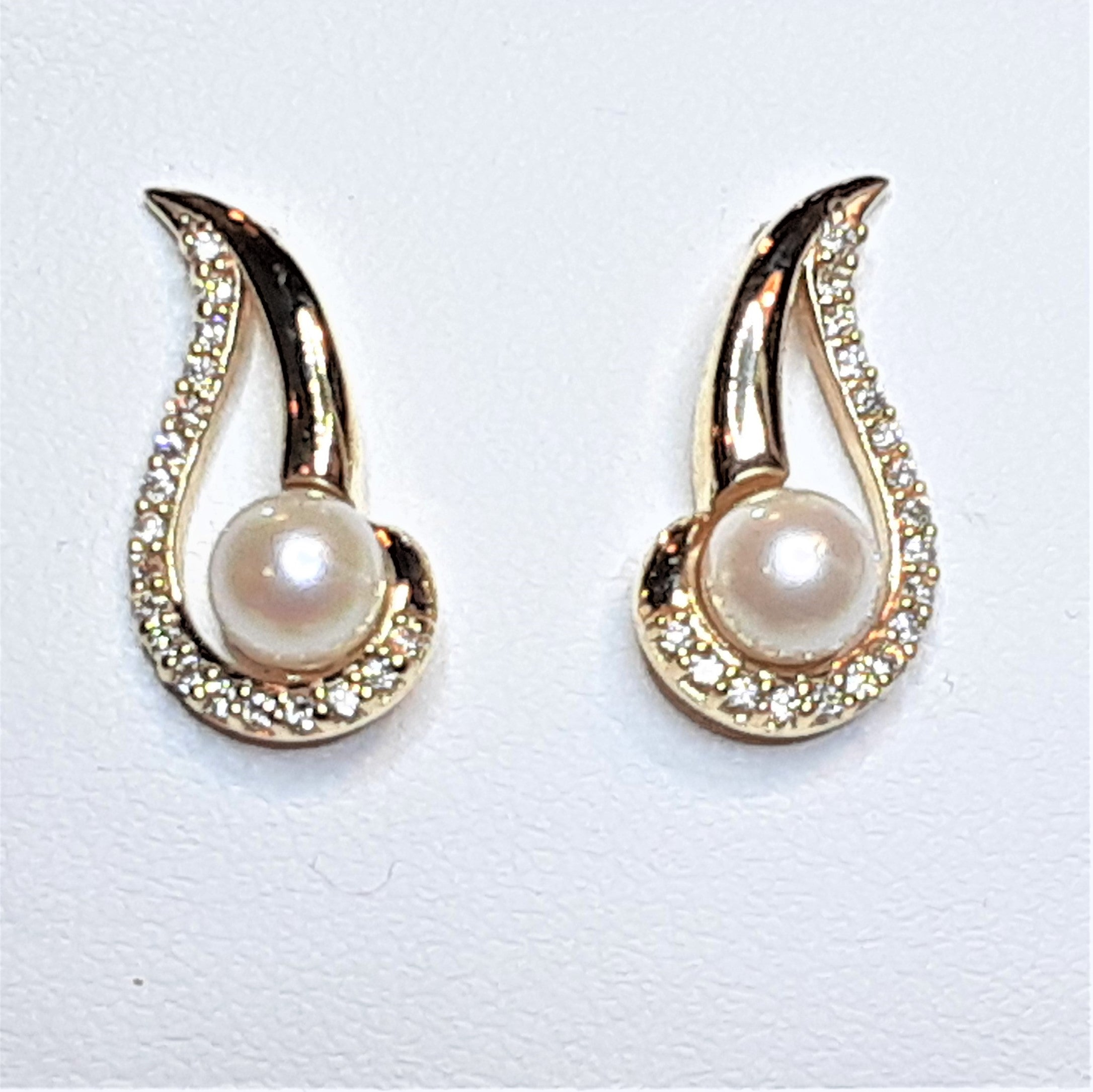 Ready to ship Pearl and diamond swirl earrings in 14k yellow gold