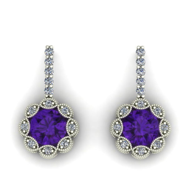 Amethyst and diamond flower earrings in 14k white gold