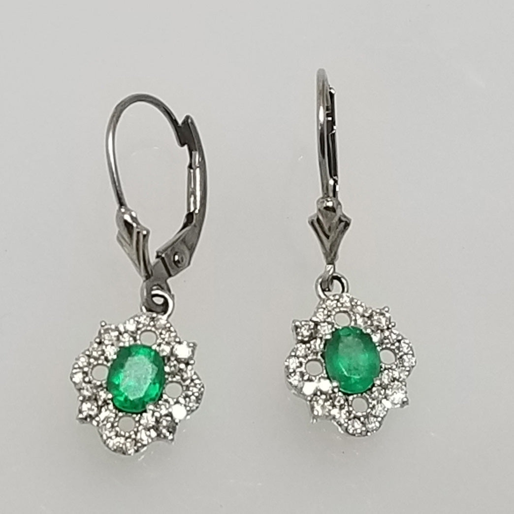 Ready to ship emerald and diamond dangle earrings in 14k white gold