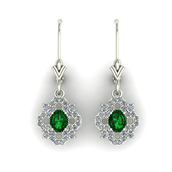 Emerald and diamond dangle earrings in 14k white gold