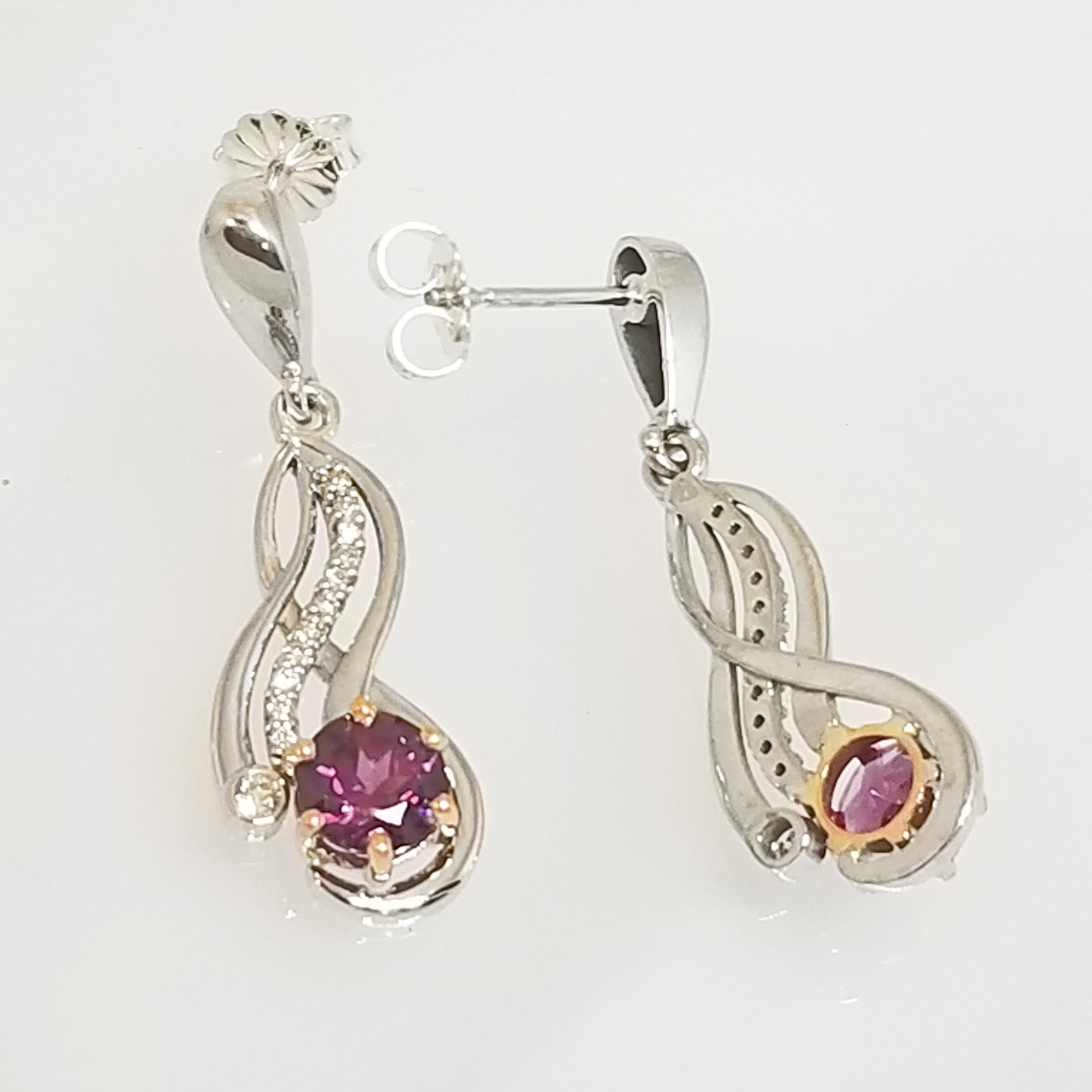 Ready to ship rhodolite garnet and diamond two tone earrings in 14k rose and white gold