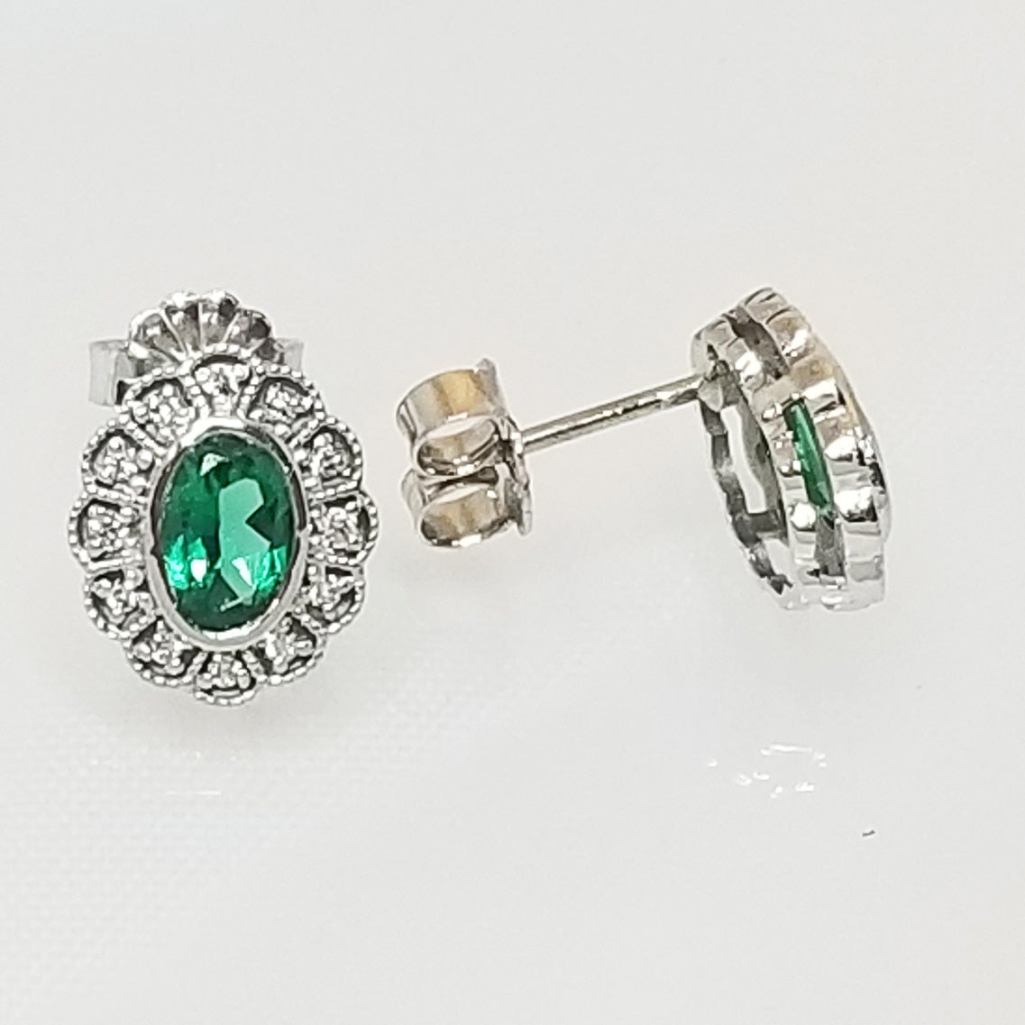 Ready to ship helenite and diamond bezel earrings in 14k white gold