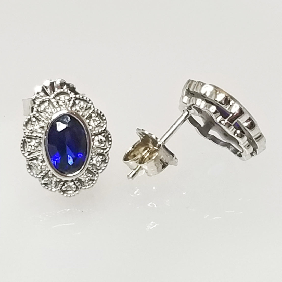 Ready to ship lab created sapphire and diamond oval earrings in 14k white gold
