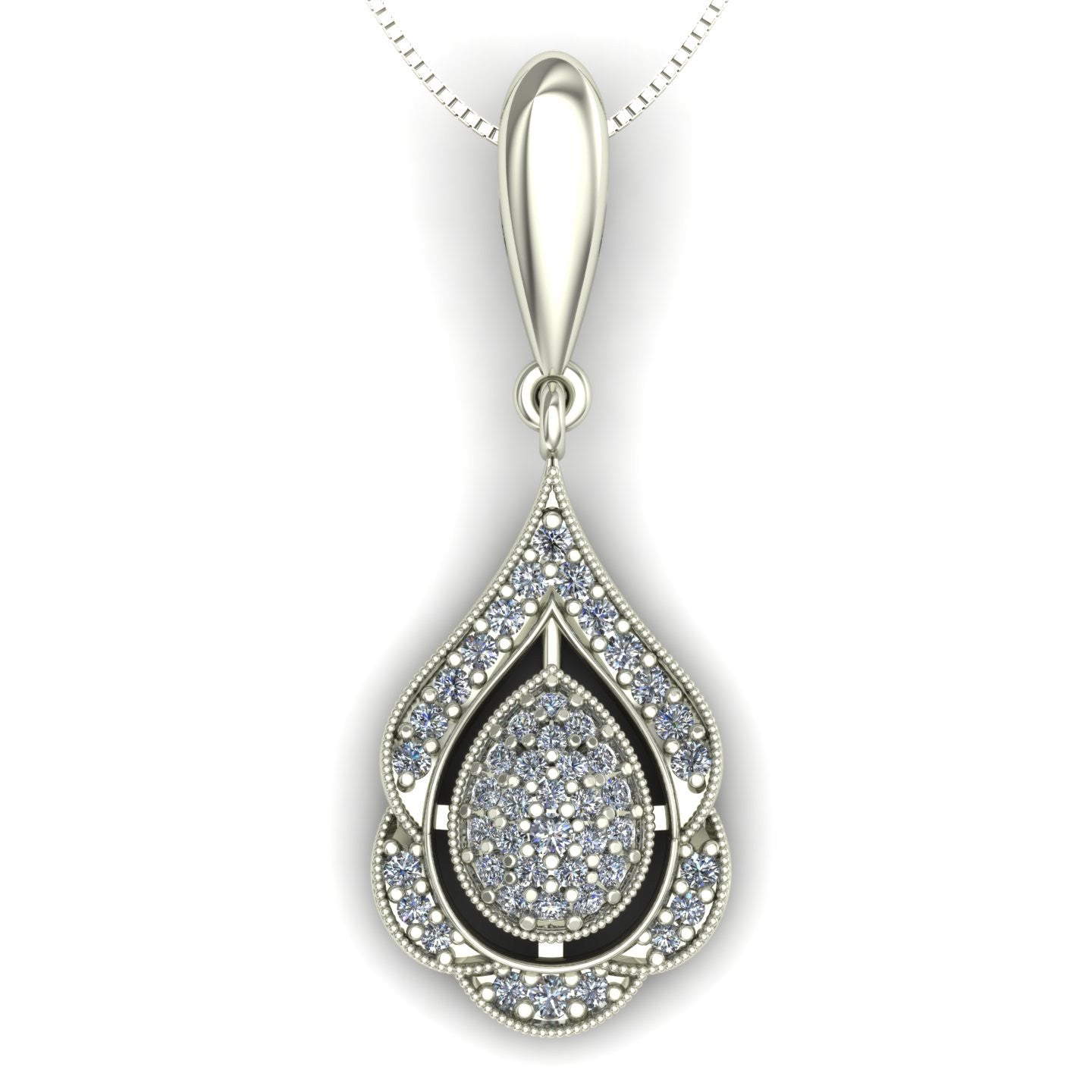 Pavé diamond pendant in 14k white gold