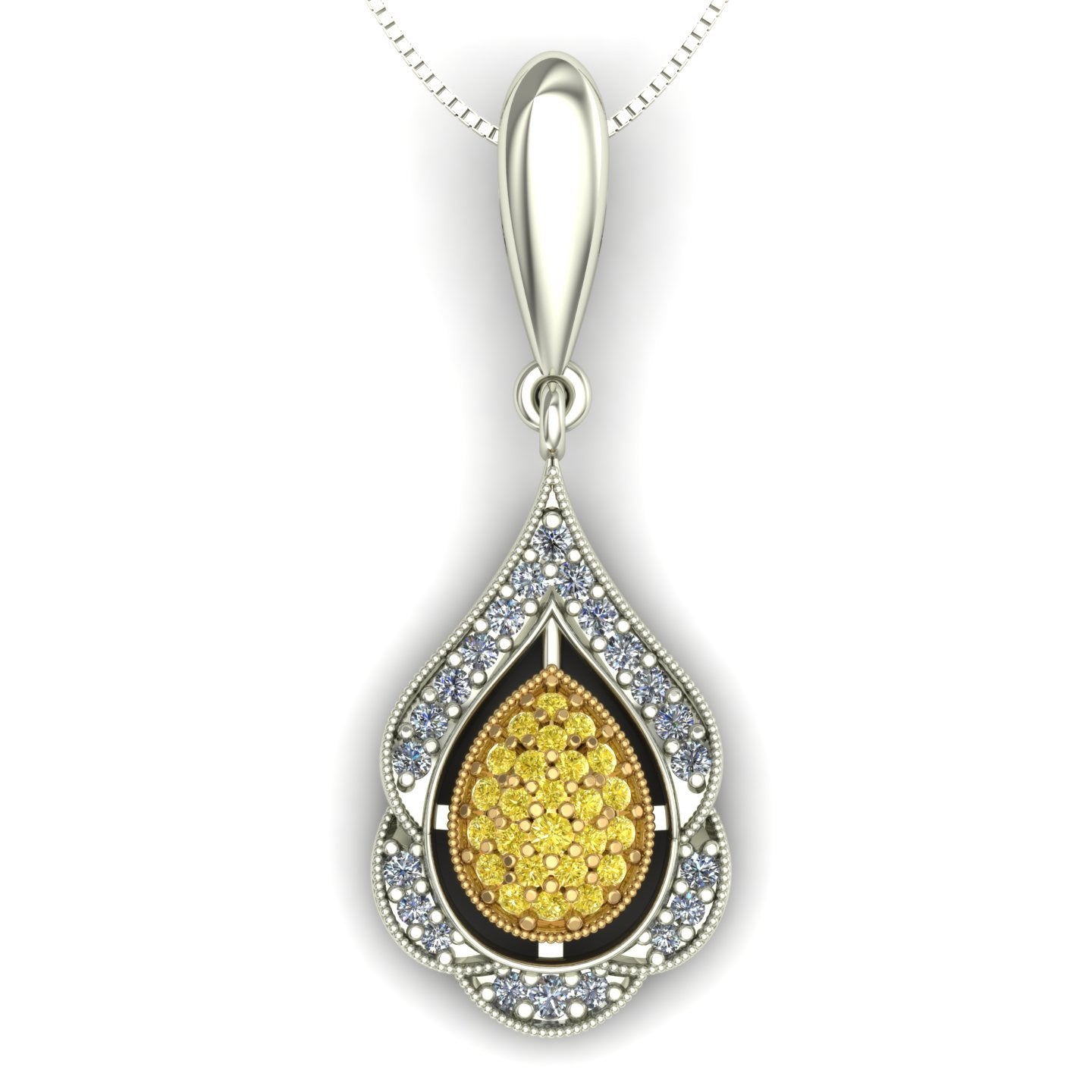 Yellow diamond pavé pendant in 14k yellow and white gold