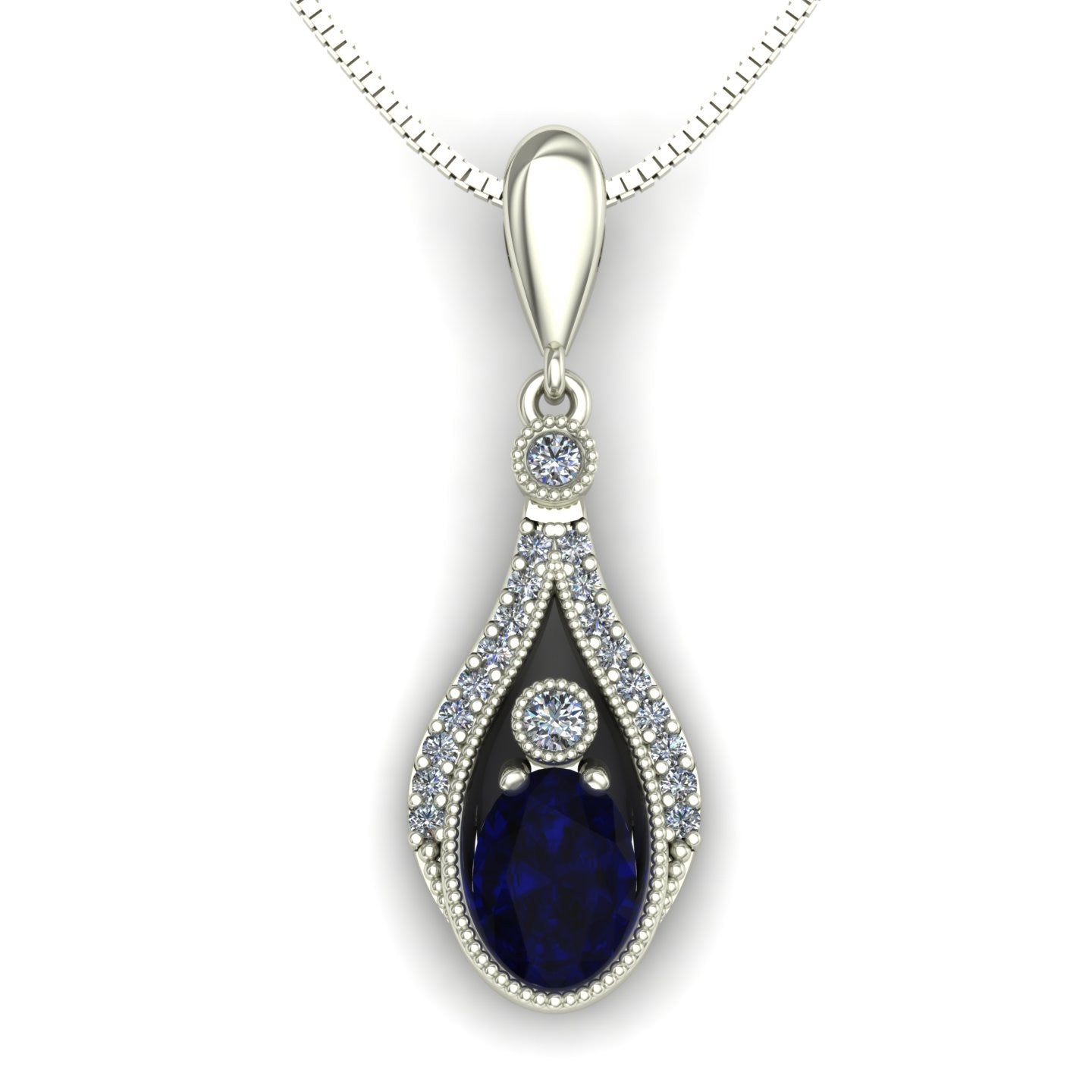 Blue sapphire and diamond drop pendant in 14k white gold