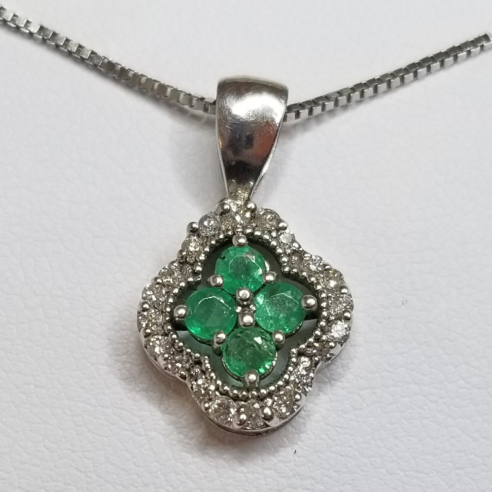 Ready to ship emerald and diamond clover pendant in 14k white gold
