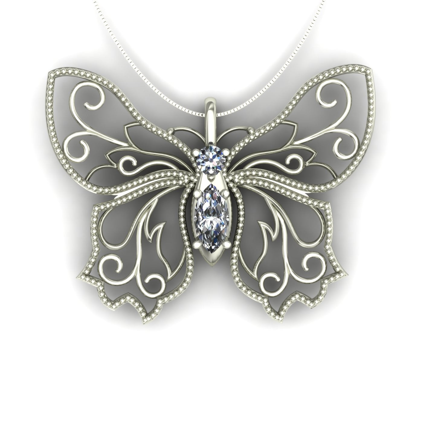 Diamond butterfly pendant in 14k white gold