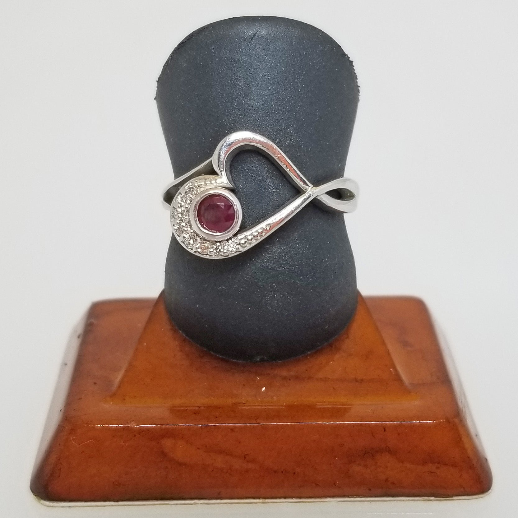 Ready to ship ruby and diamond heart ring in 14k white gold