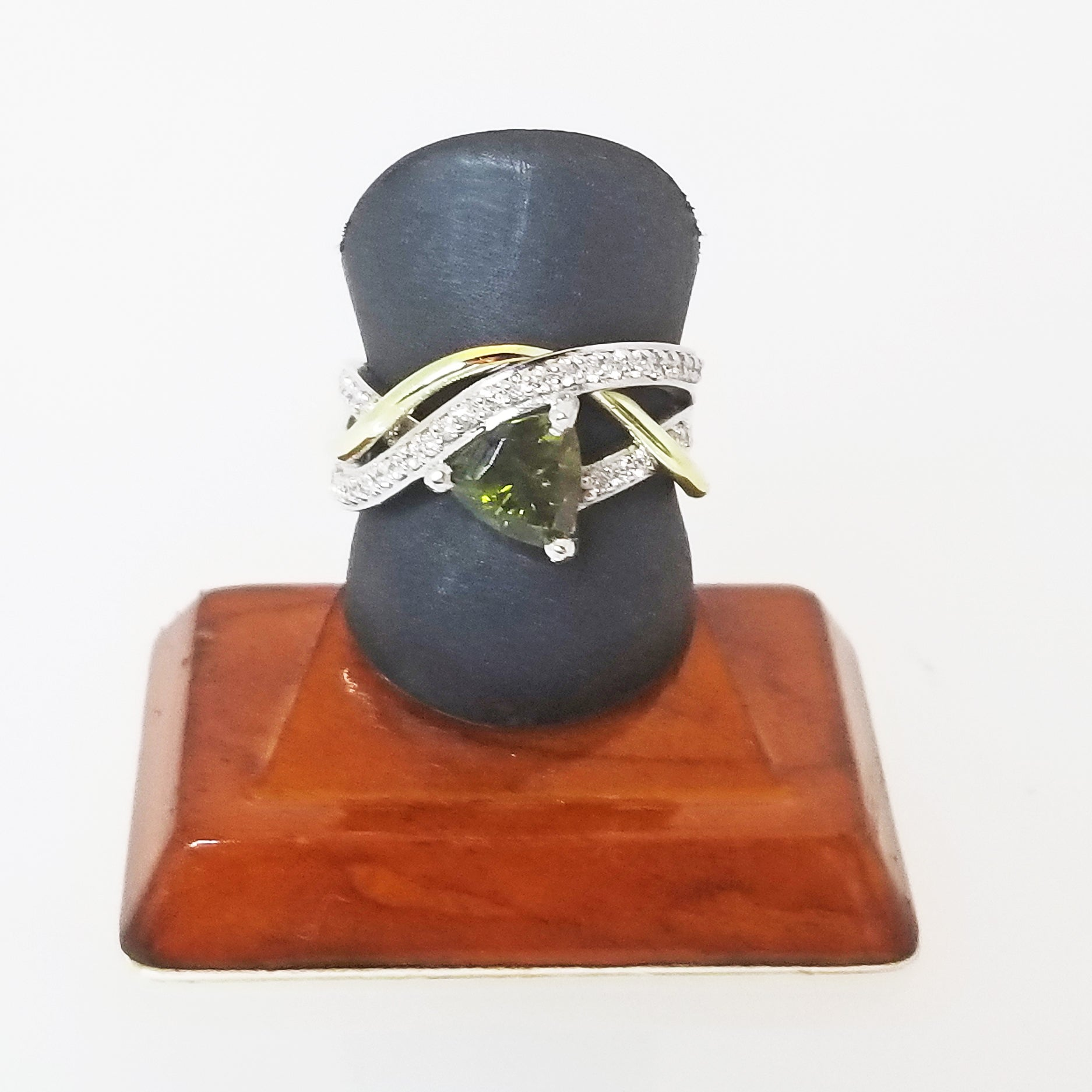 Ready to ship green tourmaline and diamond abstract ring in 14k white and green gold