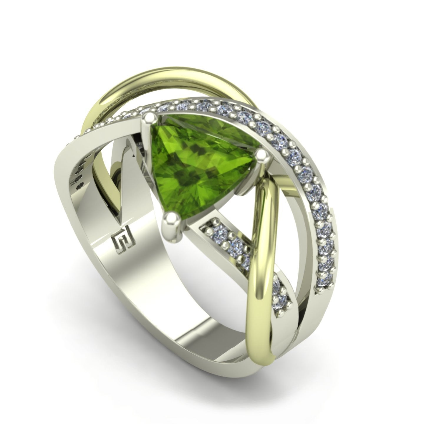 Peridot and diamond abstract ring in 14k white and green gold