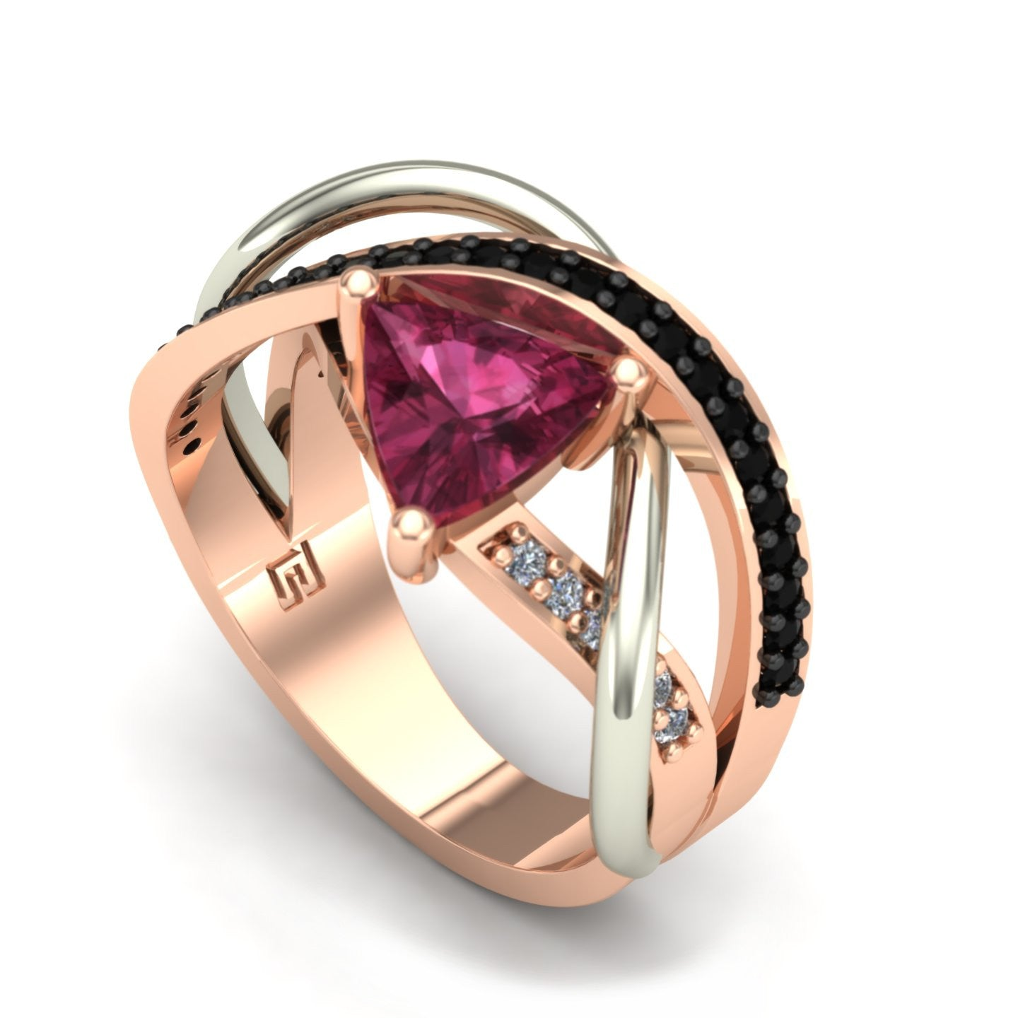 Pink tourmaline and diamond abstract ring in 14k rose and white gold