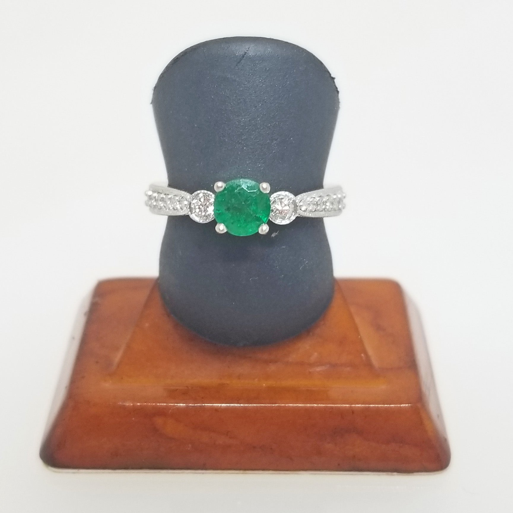 Ready to ship emerald and diamond ring with bezel sides in 14k white gold