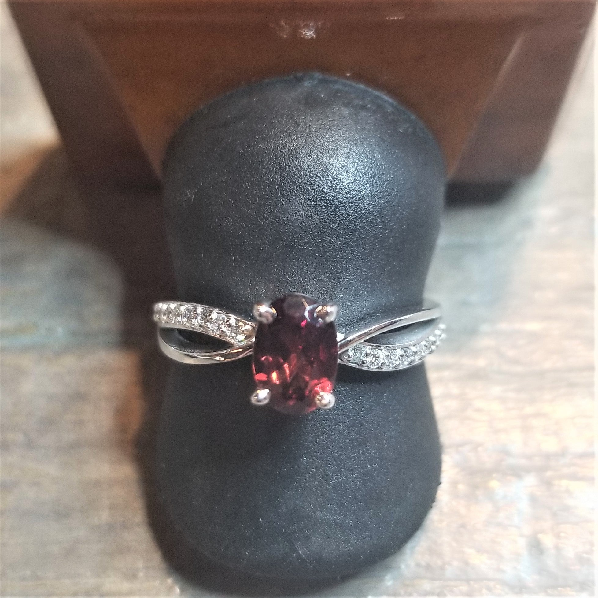 Ready to Ship oval garnet twist ring in 14k white gold