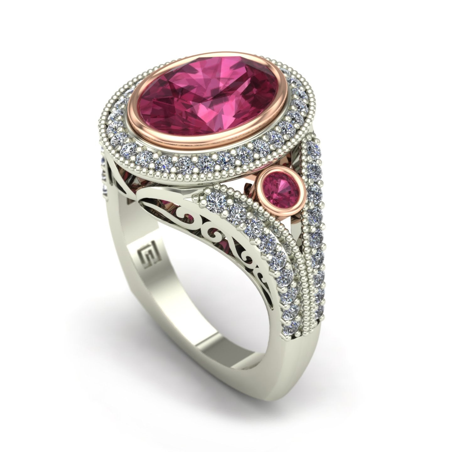 Pink tourmaline and diamond oval bezel ring in 14k rose and white gold