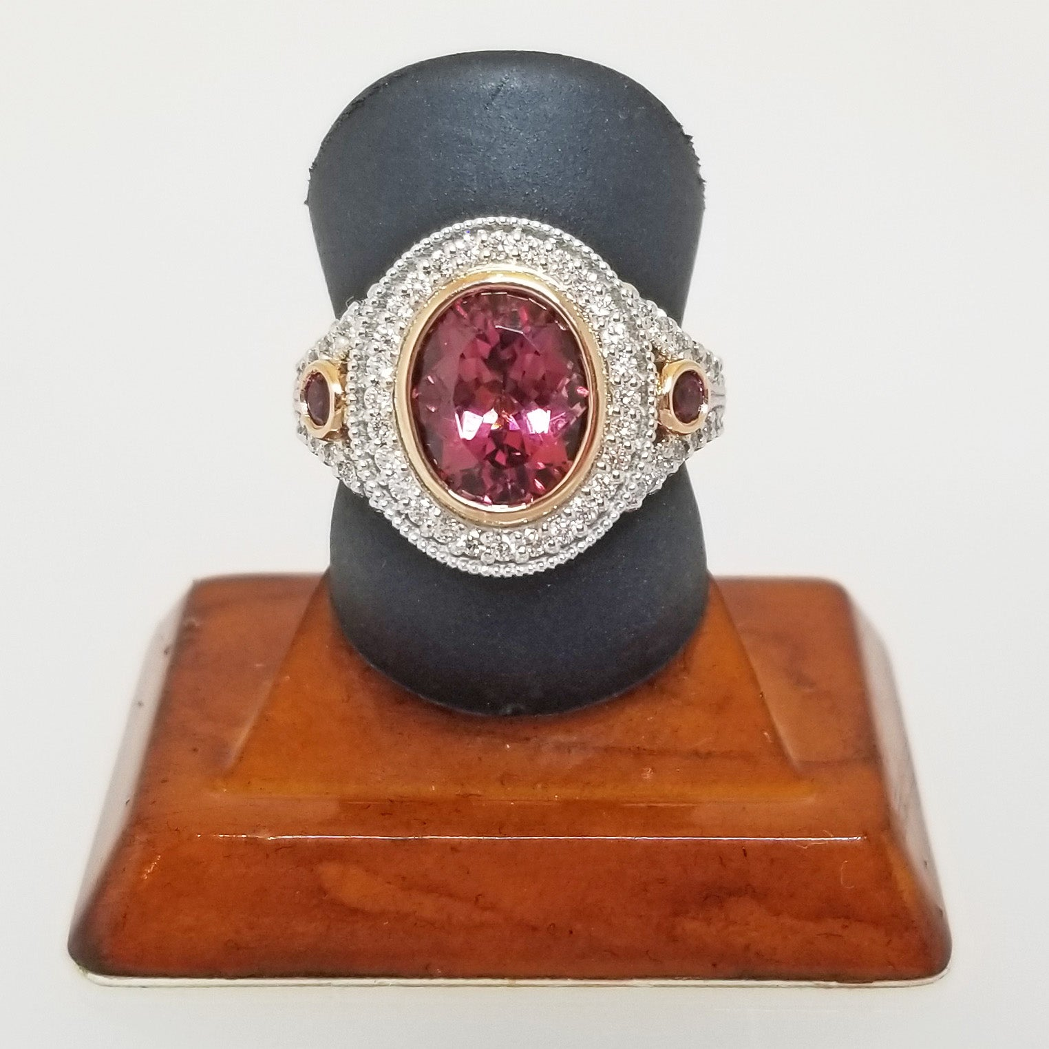 Ready to ship Pink tourmaline and diamond oval bezel ring in 14k rose and white gold