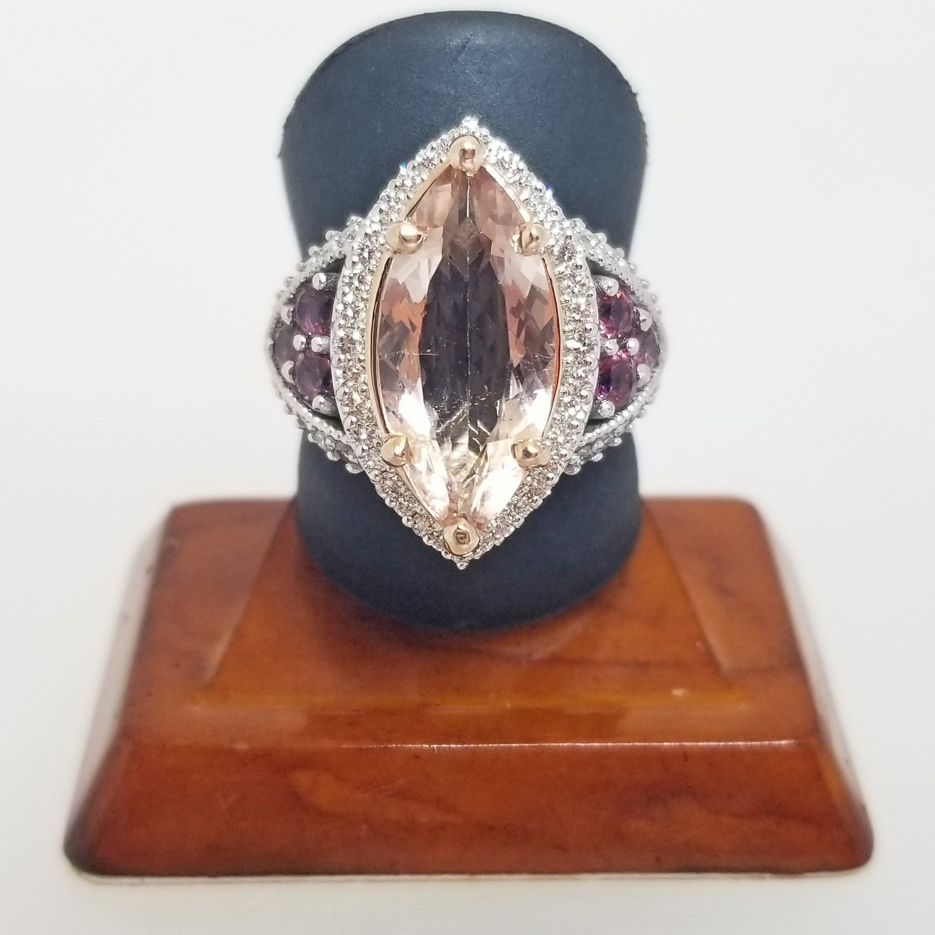 Ready to ship Morganite, rhodolite garnet, and diamond marquise ring in 14k rose and white gold