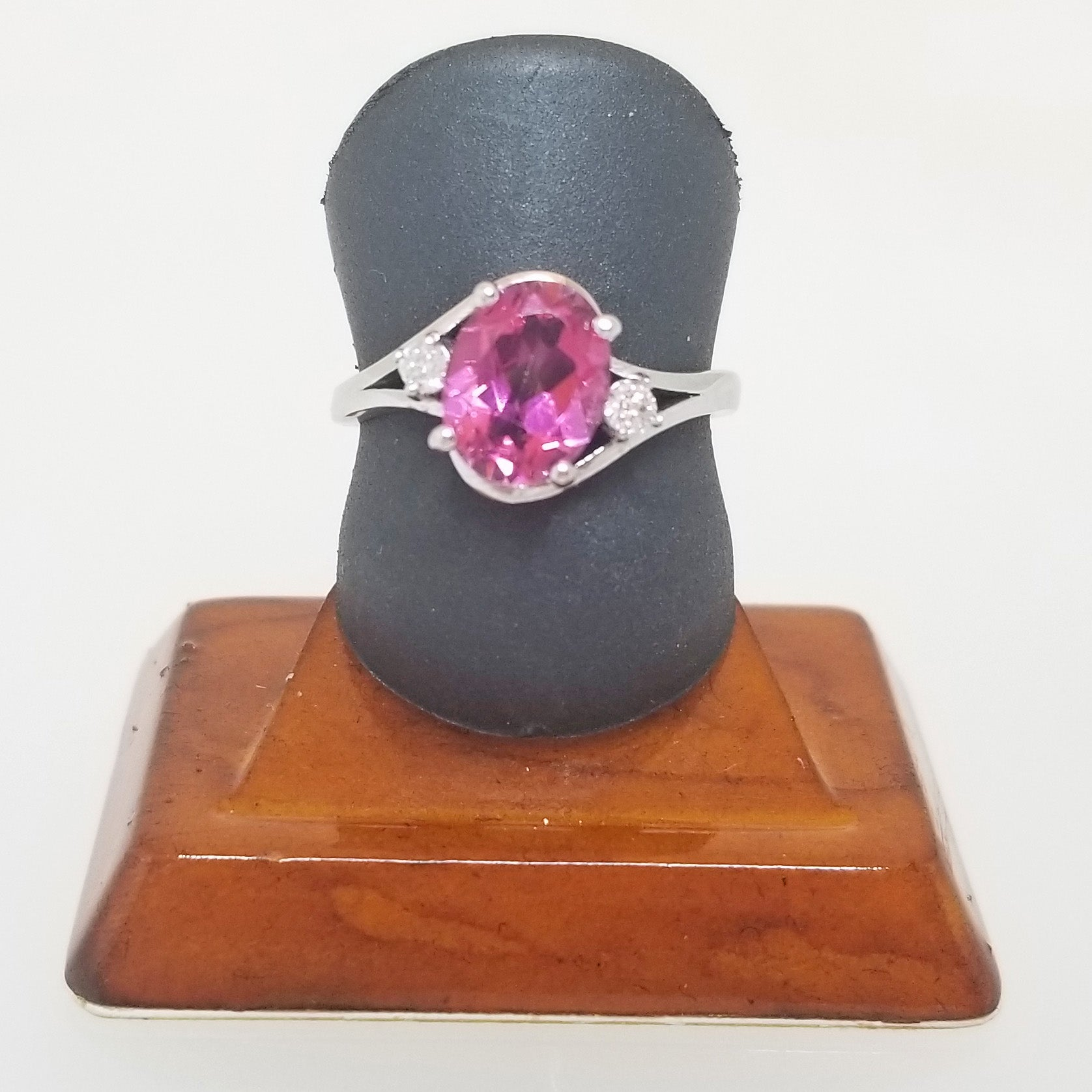 Ready to ship Pink topaz and diamond bypass ring in 10k white gold