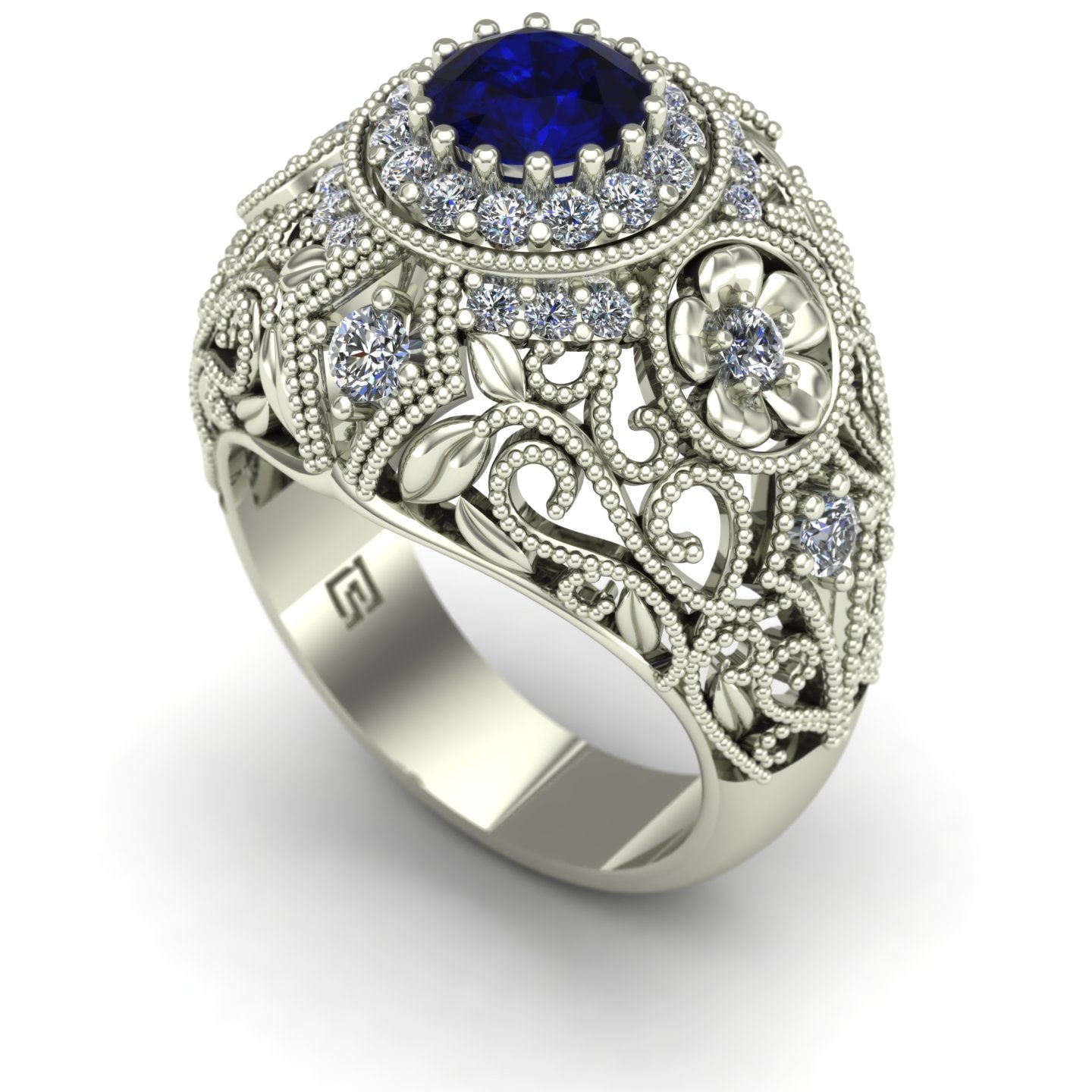Blue sapphire and diamond large dome cocktail ring in 14k white gold