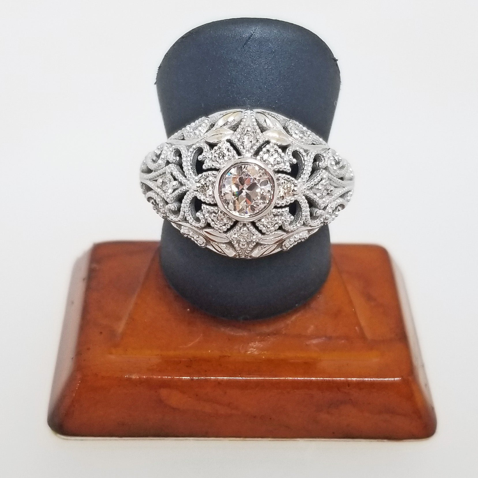 Ready to ship diamond dome ring with leaves and vines in 14k white gold