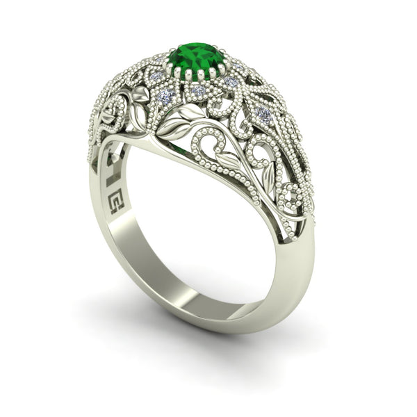 Emerald and diamond dome ring with leaves and vines in 14k white gold