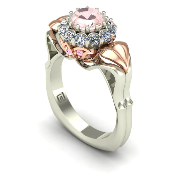 Morganite two tone flower ring with pink diamonds in 14k rose and white gold