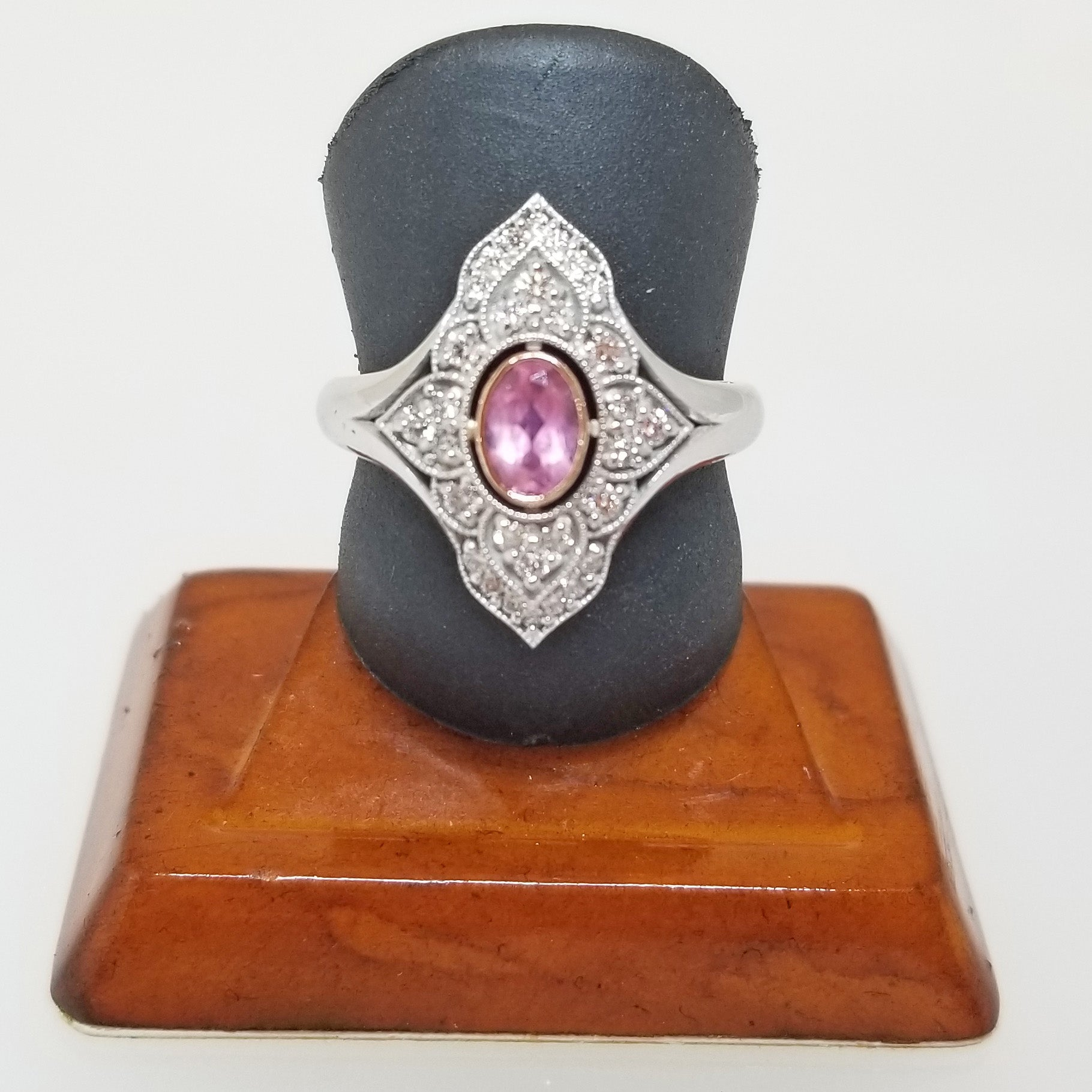 Ready to ship Pink tourmaline and diamond dinner ring in 14k rose and white gold