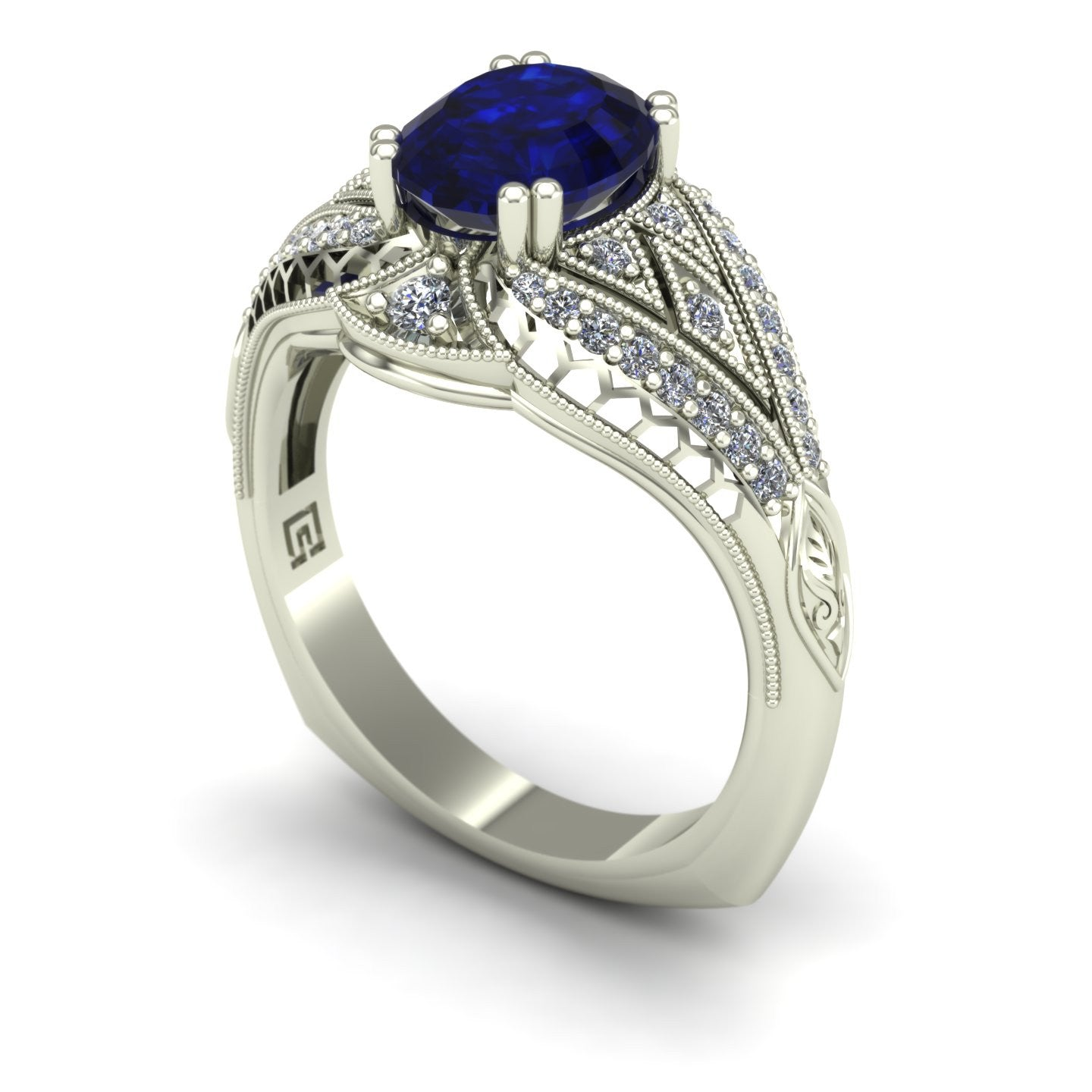Blue sapphire and diamond vintage inspired ring in 14k white gold