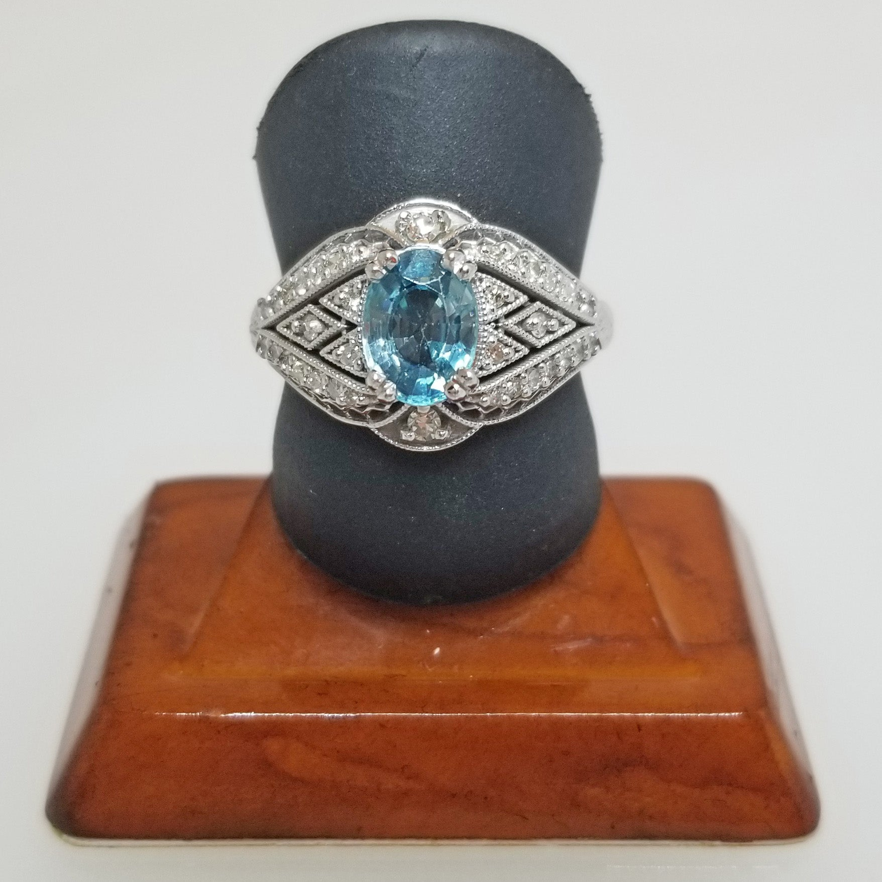 Ready to ship blue zircon and diamond vintage inspired ring in 14k white gold