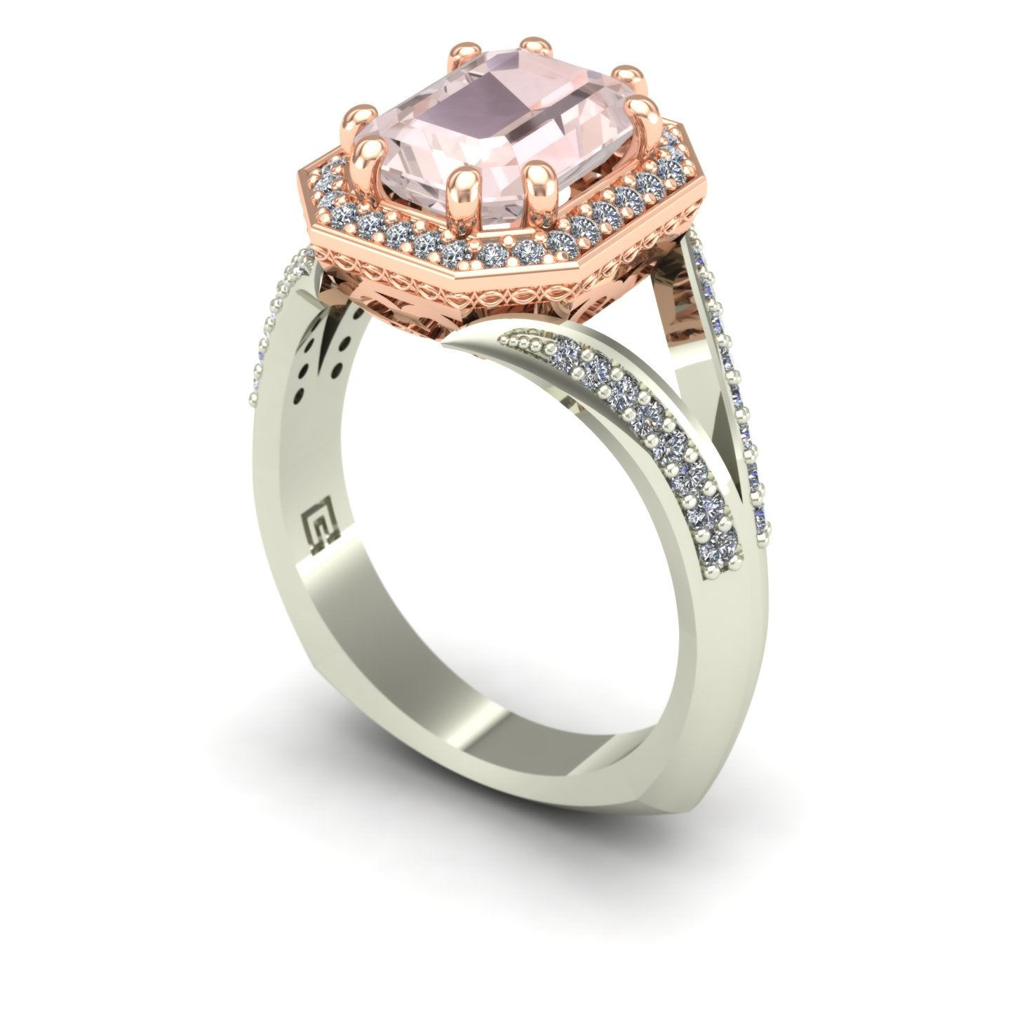 Morganite two tone ring with diamond halo and split shank in 14k rose and white gold