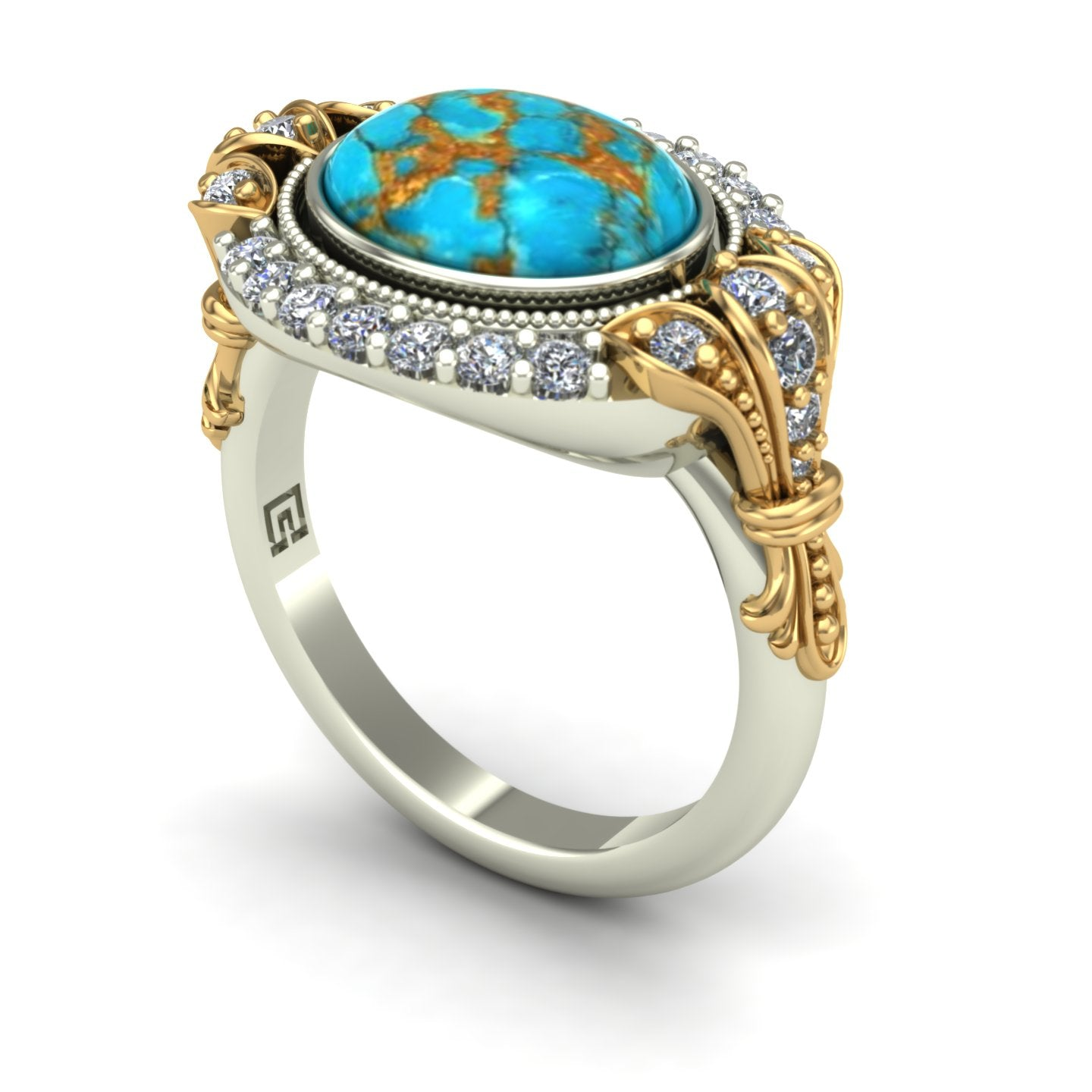 Turquoise and diamond ring in 14k yellow and white gold
