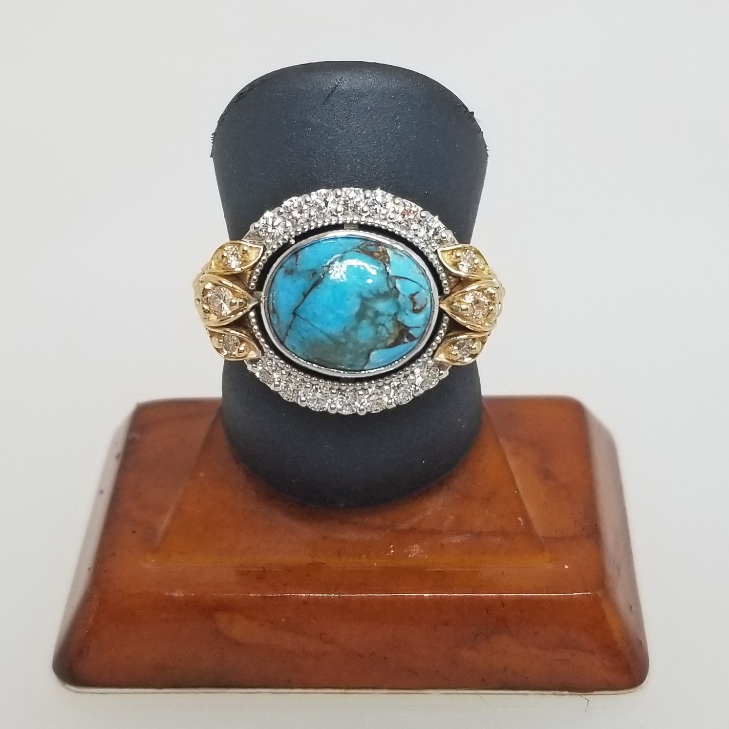 Ready to ship Turquoise and diamond ring in 14k yellow and white gold