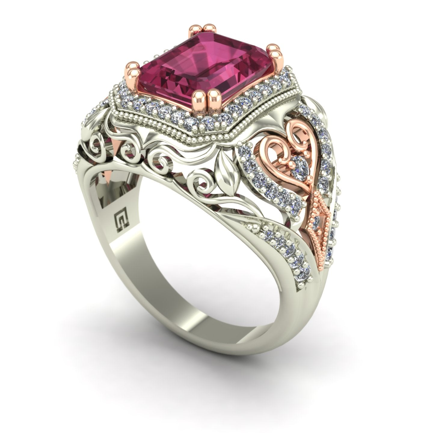 Pink tourmaline and diamond dome ring in 14k white and rose gold