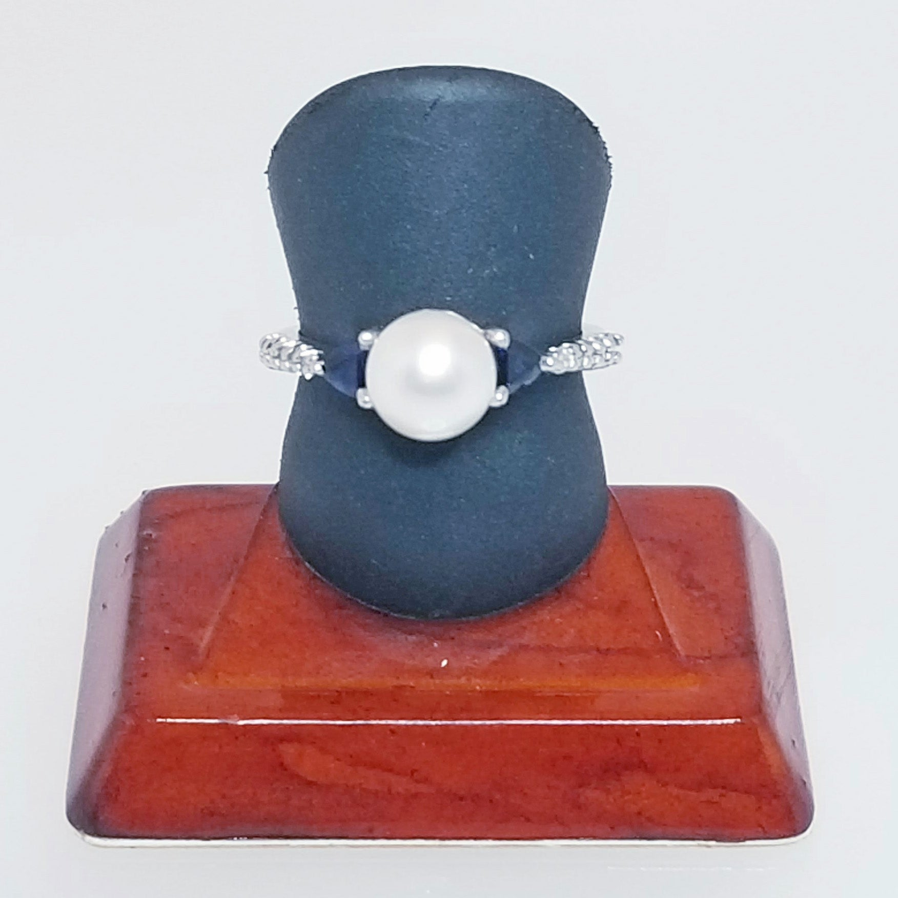 Ready to ship Pearl and diamond ring with trillion sapphires in 14k white gold