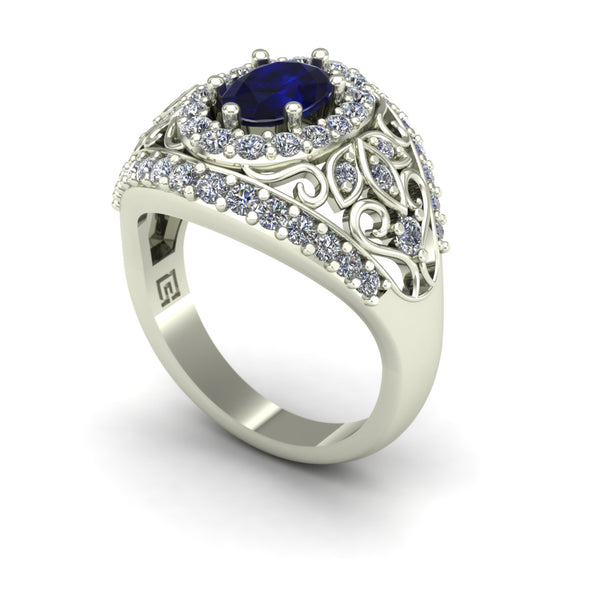 Blue sapphire and diamond dome ring in 14k white gold