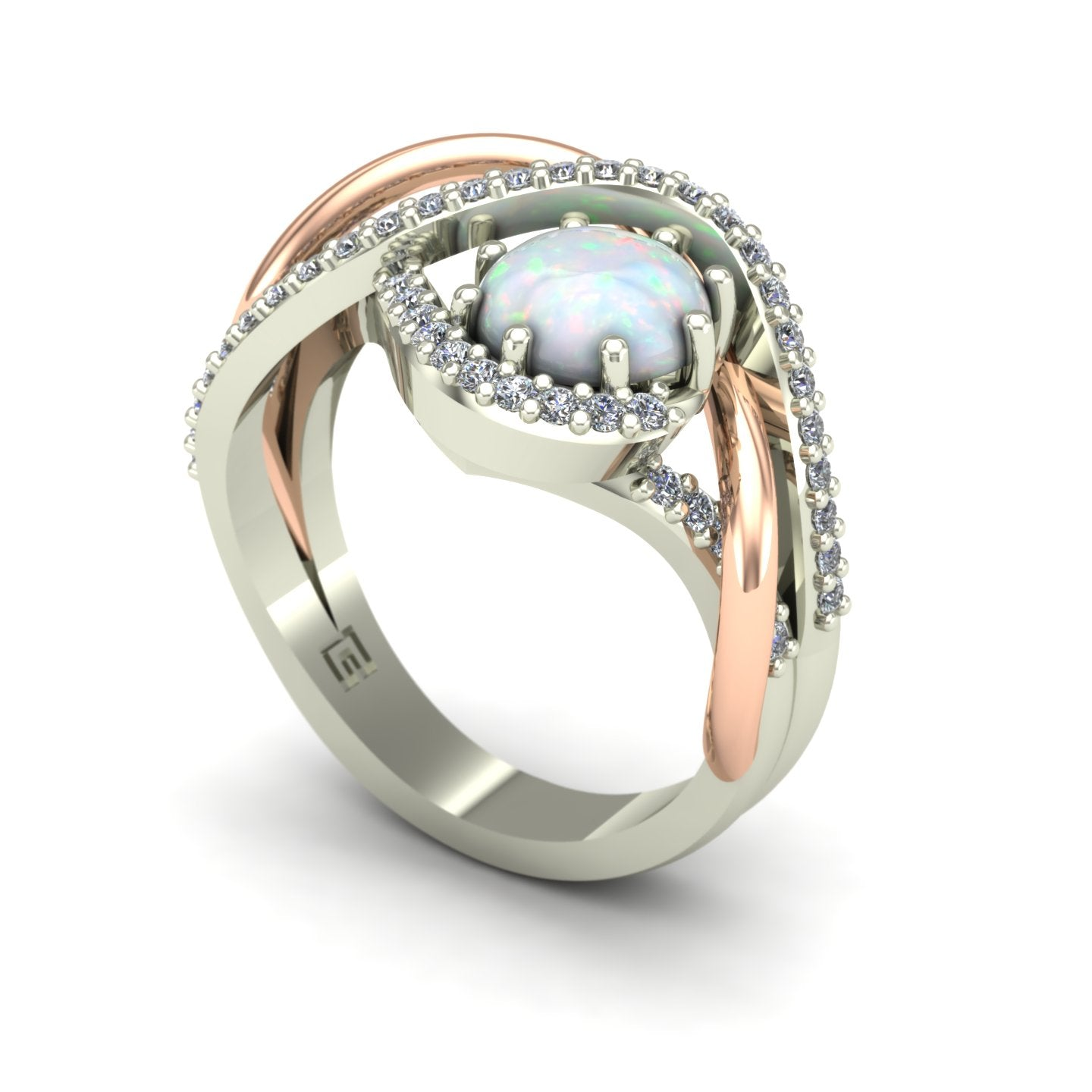 Opal and diamond ring in 14k rose and white gold